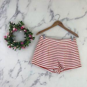 J Crew Striped Pleated Mini Shorts